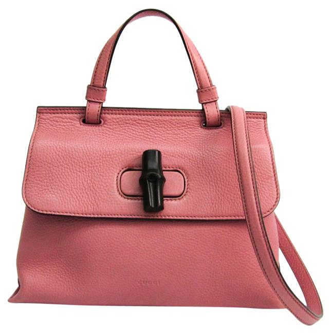 Gucci Daily 370831 Women's Handbag Pink Leather Satchel Gucci Daily 370831 Women's Handbag Pink Leather Satchel Image 1