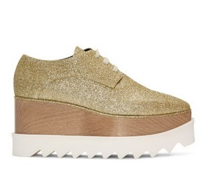 Stella McCartney Elyse Glitter Sneaker Date Light Gold Platforms