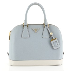 Prada Promenade Saffiano Leather Satchel in white and blue