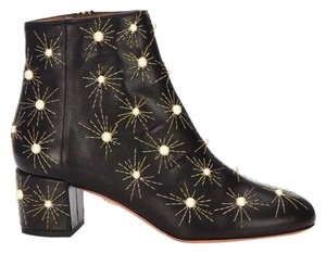 Aquazzura Pearl Embroidered Black Boots