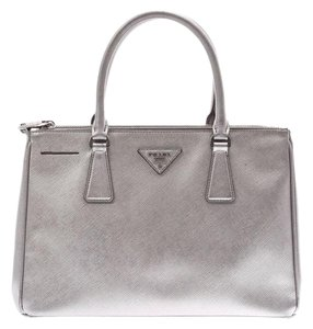 Prada Leather Hardware Satchel in Silver