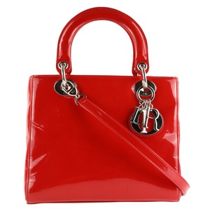 Dior Patent Leather Lady Satchel in Red