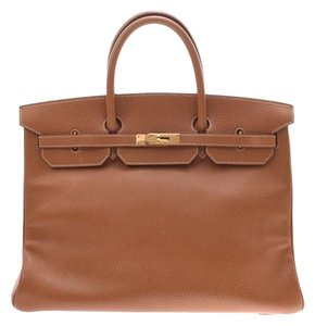 Hermès Gold Ardennes Leather 40cm Birkin Satchel in Black