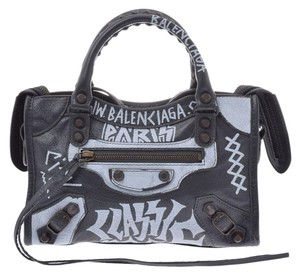 Balenciaga Calfskin Leather Graffiti Mini Satchel in Black