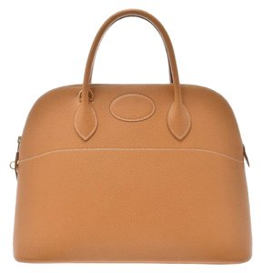 Hermès Fjord Leather Bolide 37 Satchel in Black / Natural / Natural