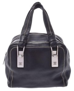 Chanel Leather Contrast Zigzag Stitched Satchel in Black
