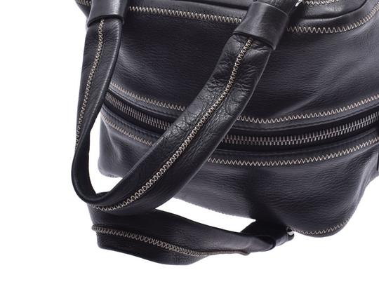 Chanel Leather Contrast Zigzag Stitched Satchel in Black Image 2