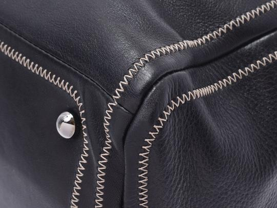 Chanel Leather Contrast Zigzag Stitched Satchel in Black Image 6