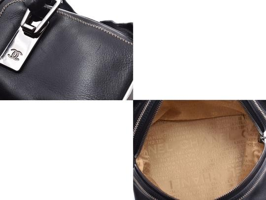 Chanel Leather Contrast Zigzag Stitched Satchel in Black Image 7