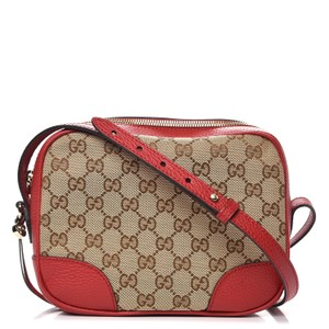 Gucci Leather Canvas Chic Shoulder Monogram Cross Body Bag