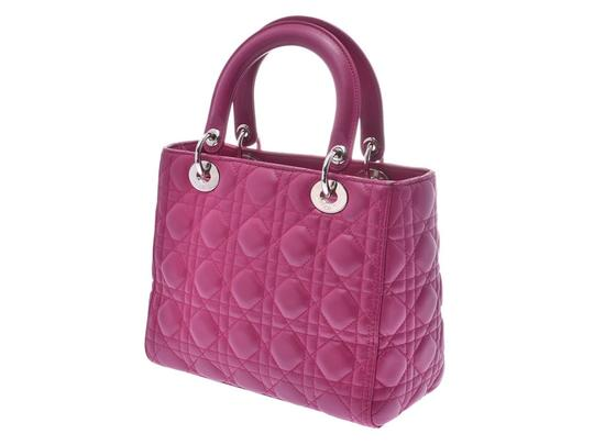 Dior Fuschia Lambskin Leather Lady Satchel in Purple Image 1
