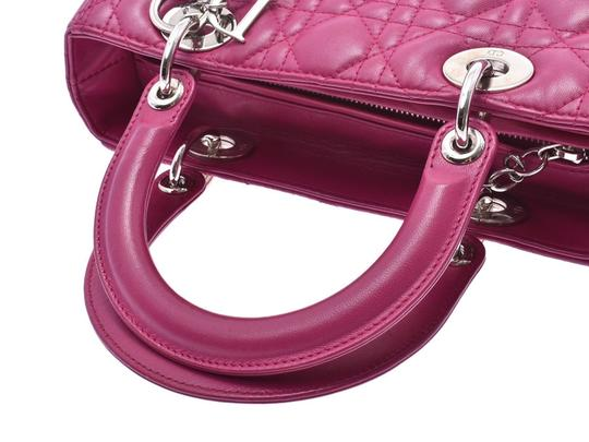 Dior Fuschia Lambskin Leather Lady Satchel in Purple Image 2