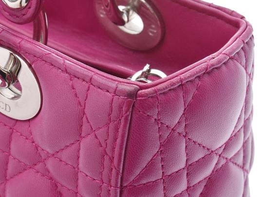 Dior Fuschia Lambskin Leather Lady Satchel in Purple Image 6