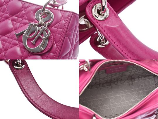 Dior Fuschia Lambskin Leather Lady Satchel in Purple Image 7