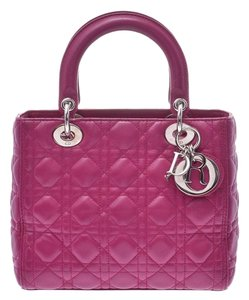 Dior Fuschia Lambskin Leather Lady Satchel in Purple