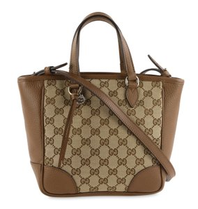 Gucci Canvas Leather Gold Hardware Tote in Brown
