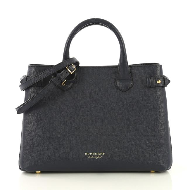 Item - Banner Convertible and House Check Canvas Medium Blue Leather Satchel
