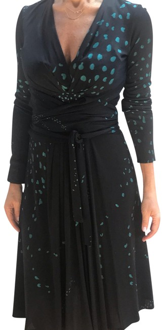 Item - Black with Teal Design. No Style Number Mid-length Formal Dress Size 6 (S)