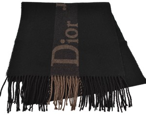"Dior Cashmere/Wool Logo Scarf With Fringe 65"" x 15"" (my)"