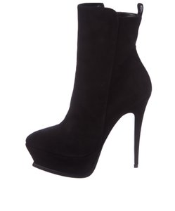 Saint Laurent Suede Stiletto Ysl Black Boots