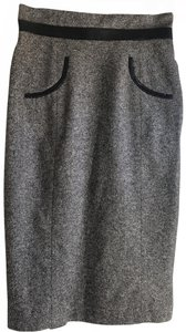 Philippe Adec Skirt Dark grey with black leather piping.