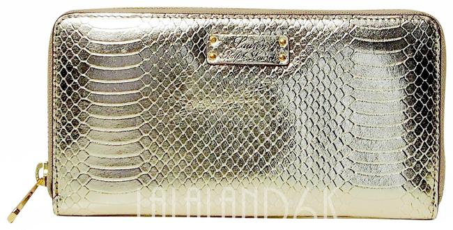Item - Gold Clutch Banbury Snake Leather Zip Wallet