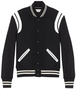 Saint Laurent Teddy Bomber Varsity Ysl Teddy Motorcycle Jacket