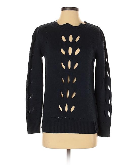 Item - Celsius Cut-out Scalloped Edge Navy Blue Sweater