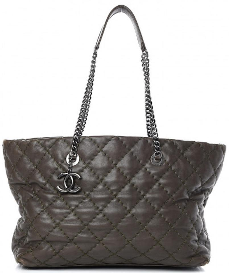 d3469463 Chanel Shopping Ultimate Stitch Grand Gst Khaki Grey Brown Green Calfskin  Leather Tote 31% off retail