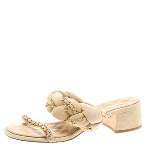 Chanel Suede Chain Embellished Flat Beige Sandals
