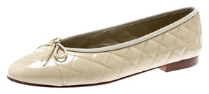 Chanel Quilted Leather Ballet Patent Leather Beige Flats