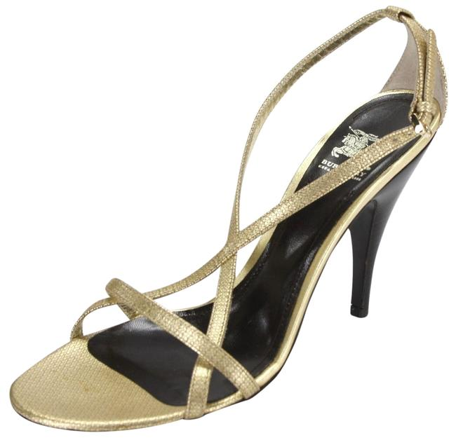 Item - Gold Check Print Leather Strappy High Heel Sandals Size EU 39.5 (Approx. US 9.5) Regular (M, B)