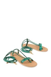 Cocobelle Lspace Leather Ankle Strap Green Sandals