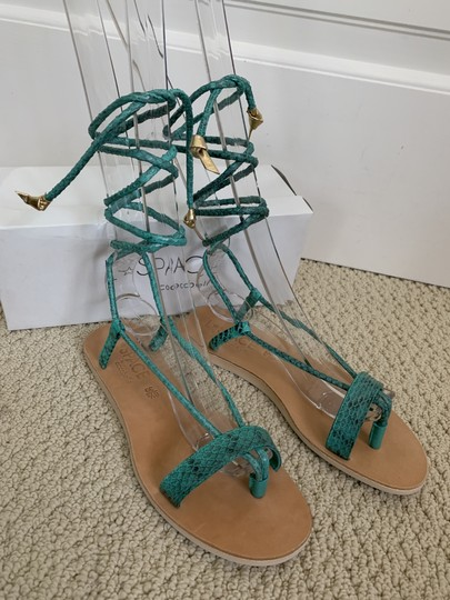 Cocobelle Lspace Leather Ankle Strap Green Sandals Image 1