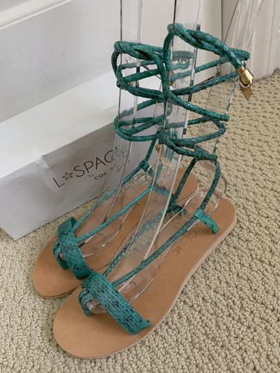 Cocobelle Lspace Leather Ankle Strap Green Sandals Image 2