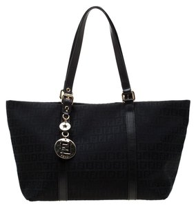 Fendi Canvas Leather Tote in Black