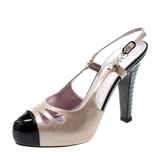 Chanel Textured Patent Leather Glitter Detail Beige Sandals