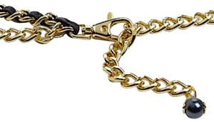 Tory Burch Black and Gold Leather BeltDraped Chain Belt