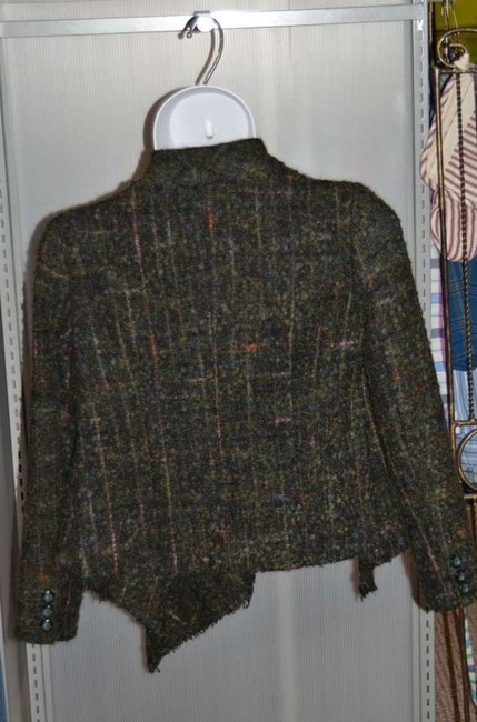 Debbie Shuchat Wool Jacket Stylish Very Soft Dark Green With Multi Colors Throughout Tweed-like Fabric Size L Dark Green/Multi Blazer