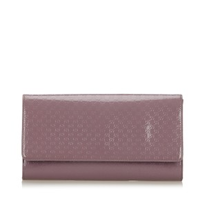 Gucci 9hgucl001 Vintage Patent Leather Purple Clutch
