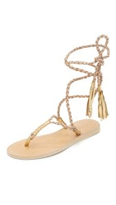 Cocobelle Leather Ankle Strap Tassel Nude Beige Sandals