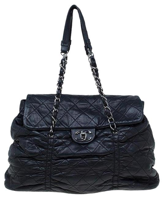 Item - Classic Flap Coco Pleats Sharpei Pleated Ruched Satchel Handle Frame Black Silver Lambskin Leather Shoulder Bag
