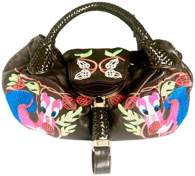 Item - Limited Edition Squirrel Spy In Dark Brown Blue Pink Multi Nappa Leather Hobo Bag