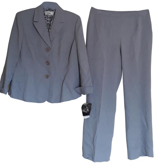 Item - Grey Blue Notch Collar Three Button 12p Pant Suit Size Petite 12 (L)