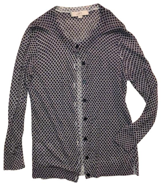 Item - Charcoal and White Lightweight Diamond Print Cardigan Size 6 (S)