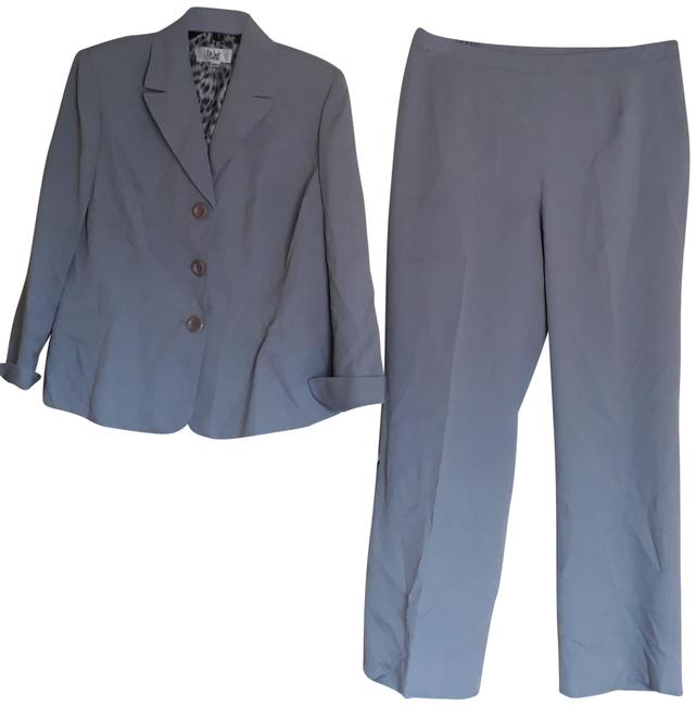 Item - Grey Blue Notch Collar Three Button 10p Pant Suit Size Petite 10 (M)