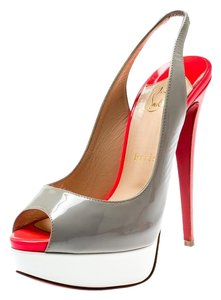 Christian Louboutin Patent Leather Peep Toe Platform Grey Sandals