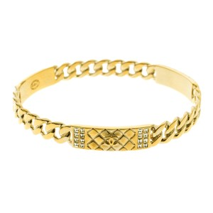 Chanel CC Crystal Textured Chain Link Gold Tone Bangle Bracelet