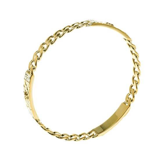 Chanel CC Crystal Textured Chain Link Gold Tone Bangle Bracelet Image 1