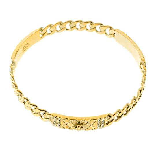 Chanel CC Crystal Textured Chain Link Gold Tone Bangle Bracelet Image 2